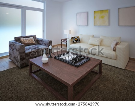 Living room vintage style. 3d render - stock photo