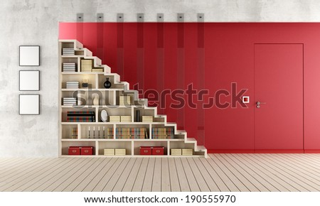 Living room with a staircase, bookcase and door flush with the wall - rendering - stock photo