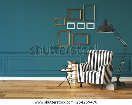 living room with an armchair, lamp and books, 3d rendering - stock photo