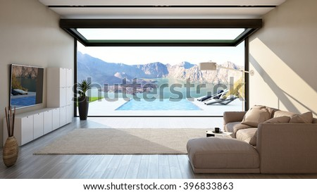 Living Room with Big Open-Sliding Window and Outdoor Pool-Mountains View 3D rendering / 3D illustration