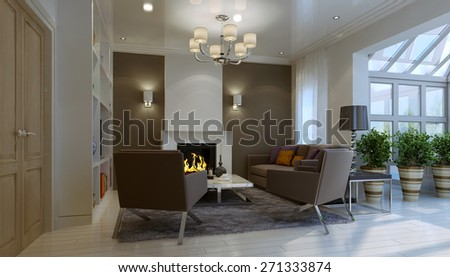 Living room with fireplace. 3d render - stock photo