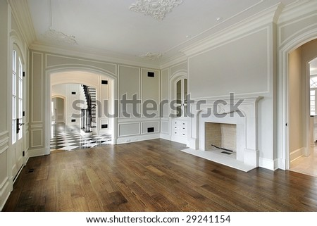Living room with foyer view - stock photo