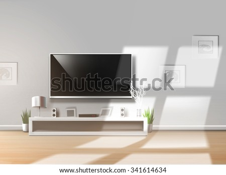 Living room with low shelf and flat TV on a bright sunny day. Vector version available in portfolio.