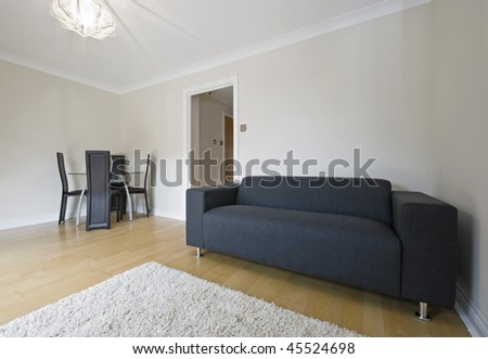 living room with modern furniture and dining table