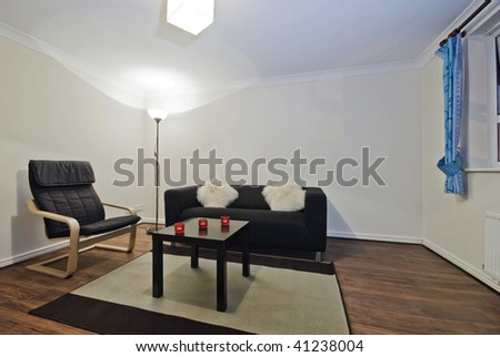 living room with modern simple furniture and decoration - stock photo