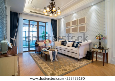 living room with nice design and decoration - stock photo