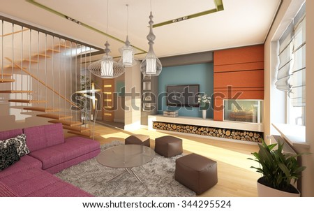 Living room with orange fireplace 3d Rendering - stock photo