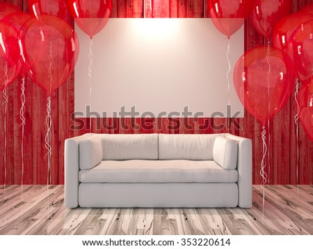 Living Room With Red Balloon And A Beautiful White Sofa Furniture