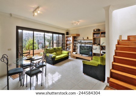 living room with terrace - stock photo