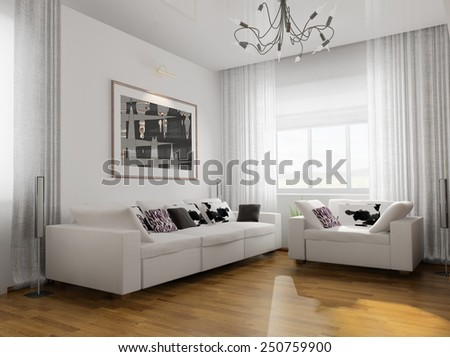 living-room with the modern furniture. 3d rendering - stock photo