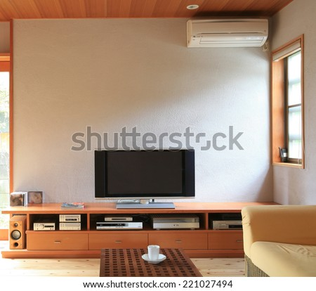 living room with tv - stock photo