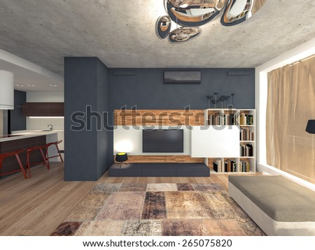living room with TV 3d rendering - stock photo