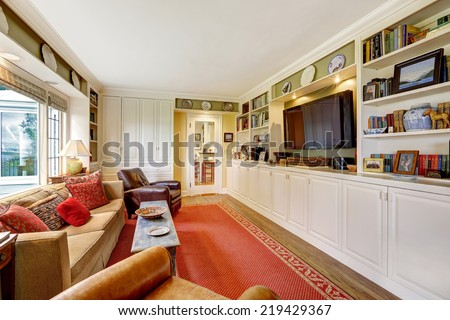Living room with white cabinets, tv, brown furniture and red rug