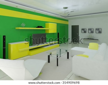 Living space with stylish wall, 3d rendering.