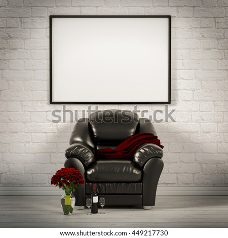 living white room with leather armchair 3d illustration