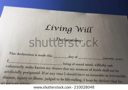 Living Will Declaration document for end of life                             - stock photo
