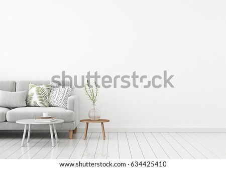 Livingroom Interior Wall Mock Up With Gray Fabric Sofa And Pillows On White  Background With Free Part 68