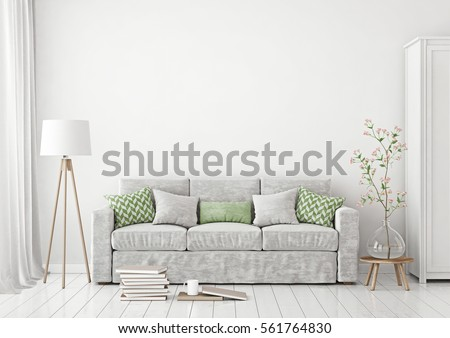 Livingroom Interior With Sofa Pillows Lamp Books And Vase With Flowers On Empty