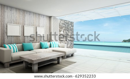 Livingroom Summer Beach Pool Villa Outdoor Background Take View Sea 3D Render