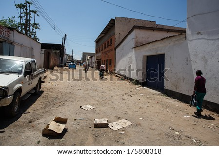 LIVINGSTONE - OCTOBER 14 2013: Local people in the town center of Livingstone, Zambia, Africa - stock photo
