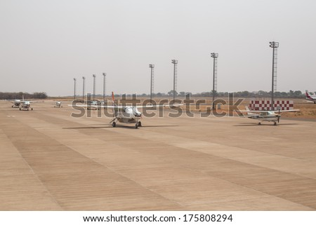 LIVINGSTONE - OCTOBER 14 2013: Local planes are often the only method of transport to remote towns in  Zambia, Africa - stock photo