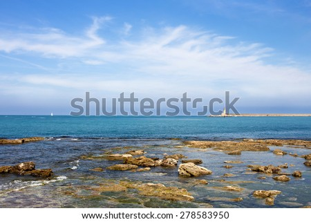 Livorno seascape with lighthouse in the background
