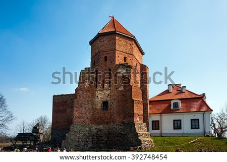 LIW TOWN, POLAND - APRIL 11, 2015: Liw Castle, medieval stronghold ruins and museum XVth century - stock photo