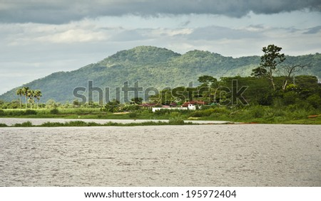 LIWONDE, MALAWI - JANUARY 16: the Shire River on January 16, 2014 in Liwonde, Malawi. The Shire River is the largest river in Malawi and is 402 kilometres long. - stock photo