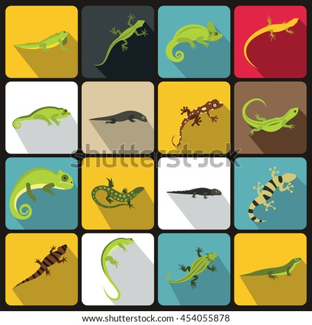 Lizard icons set in flat style illustration