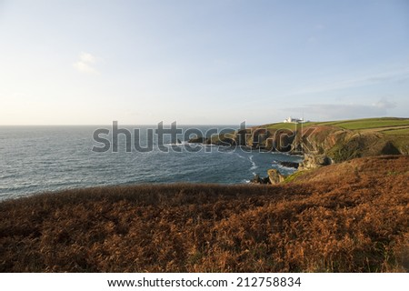 Lizard Point in Cornwall, UK with the historical Lizard Point Lighthouse , the most southerly point on mainland Great britain - stock photo