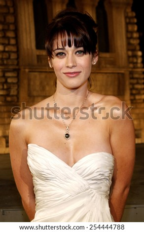 "Lizzy Caplan attends the Los Angeles Premiere of ""Cloverfield"" held at the Paramount Pictures Lot in Hollywood, California, United States on January 16, 2008.  - stock photo"