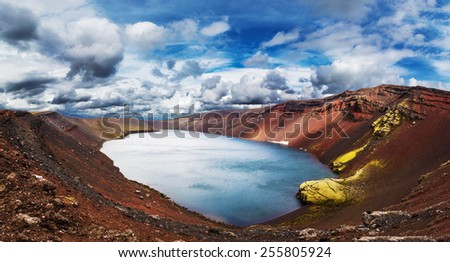 Ljotipollur crater lake, Landmannalaugar, Iceland , Panorama - stock photo