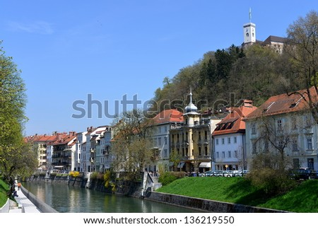 Ljubljana, capital of Slovenia, Europe , old city center with a castle