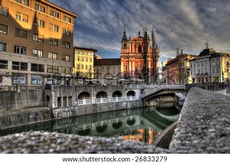 Ljubljana, capitol of  Slovenia - stock photo