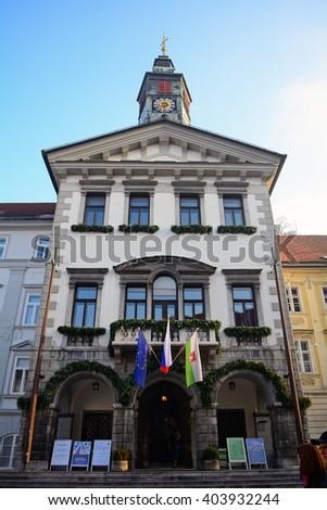 LJUBLJANA - DECEMBER 19 : City Hall in the old city at 19 December, 2015 in Ljubljana, Slovenia. Ljubljana has a small, medieval old city. - stock photo
