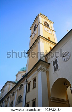 LJUBLJANA - DECEMBER 19 : St. Nicholas Cathedral at 19 December, 2015 in Ljubljana, Slovenia. The Slovenian capital city has a nice medievalold city with churches. - stock photo