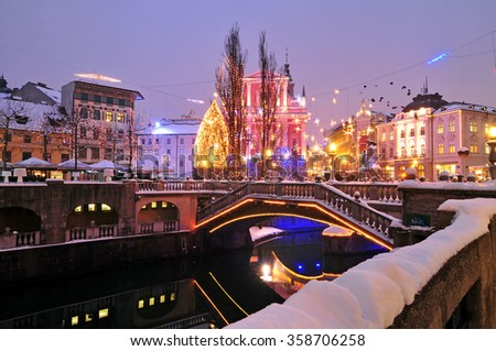 Ljubljana, decorated for New Year's celebration