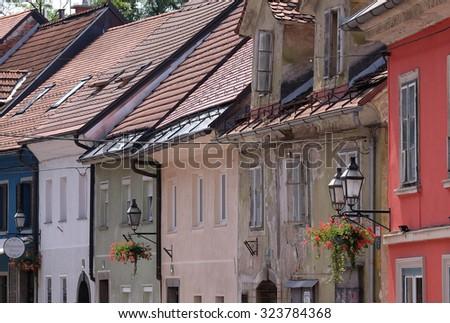 LJUBLJANA, SLOVENIA - JUNE 30, 2015: Romantic medieval Old city centre. Ljubljana - cultural, educational, economic, political and administrative center of Slovenia - stock photo