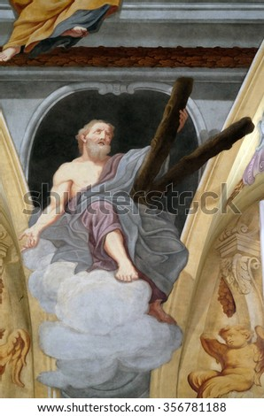 LJUBLJANA, SLOVENIA - JUNE 30: Saint Andrew the Apostle, fresco on the ceiling  of the Cathedral of St Nicholas in Ljubljana, Slovenia on June 30, 2015