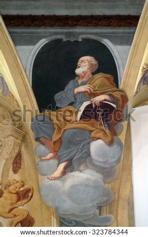 LJUBLJANA, SLOVENIA - JUNE 30: Saint Peter the Apostle, fresco on the ceiling  of the Cathedral of St Nicholas in the capital city of Ljubljana, Slovenia on June 30, 2015