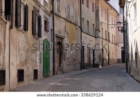 LJUBLJANA, SLOVENIA - JUNE 30: Street in the old city center of Ljubljana, Slovenia on June 30, 2015