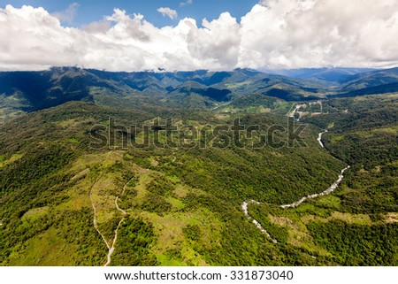 Llanganates National Park And Topo River Tungurahua Province Ecuador High Altitude Full Size Helicopter Shot - stock photo