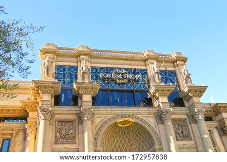 """lLAS VEGAS, NEVADA, USA - OCTOBER 20, 2013 :  Mall """"The Forum Shops"""" in Caesar's Palace   in Las Vegas, Caesar's Palace hotel opened in 1966 and has a Roman Empire theme. - stock photo"""