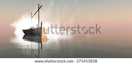 llaud traditional boat in the Balearic Islands, Spain - stock photo