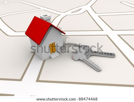 llaves y casa - stock photo