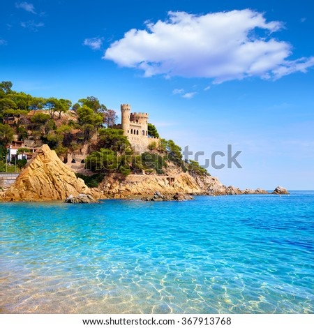 Lloret de Mar Castell Plaja at Sa Caleta beach in costa Brava of Catalonia Spain - stock photo