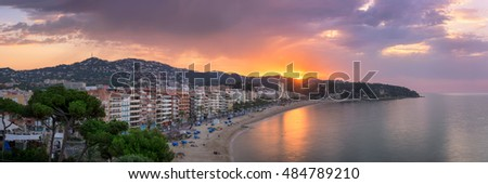 LLORET DE MAR, SPAIN - JUNE 25, 2016: Panorama of Lloret de Mar in Catalonia, Spain. Lloret de Mar is most popular Costa Brava resort and located only 75 km from Barcelona.