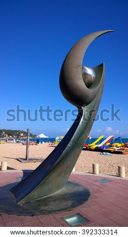 LLORET DE MAR, SPAIN - OCTOBER 2: Monument of L'Esguard in Lloret de Mar, Spain on October 2, 2015. Sculpture designed by Rosa Serra in commemoration of Meeting of Futbol Club Barcelona Supporters.