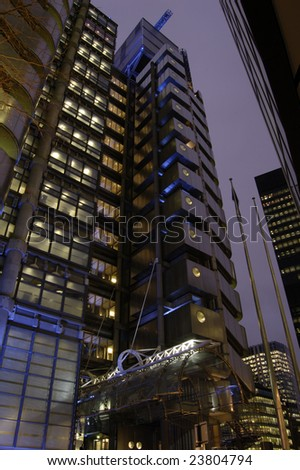 Lloyds Tower in the City of London, England at dusk