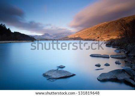 Llyn Mymbyr in Snowdonia National Park - stock photo
